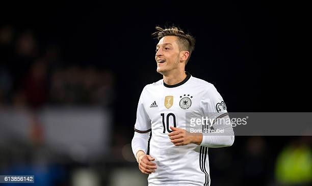 Mesut Oezil of Germany reacts during the FIFA World Cup 2018 qualifying match between Germany and Czech Republic at Volksparkstadion on October 8...
