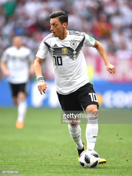 Mesut Oezil of Germany runs with the ball during the 2018 FIFA World Cup Russia group F match between Germany and Mexico at Luzhniki Stadium on June...