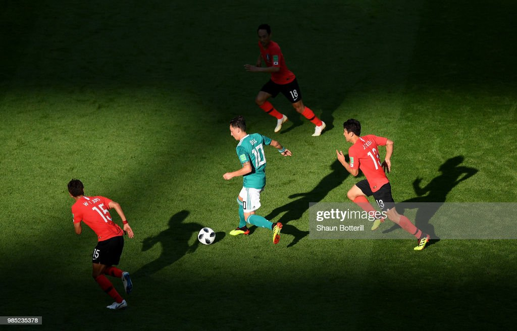 Mesut Oezil of Germany runs with the ball during the 2018 FIFA World Cup Russia group F match between Korea Republic and Germany at Kazan Arena on June 27, 2018 in Kazan, Russia.