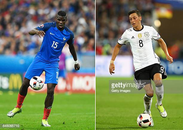 COMPOSITE OF TWO IMAGES Image numbers 544406254 and 544688670 In this composite image a comparision has been made between Paul Pogba of France and...