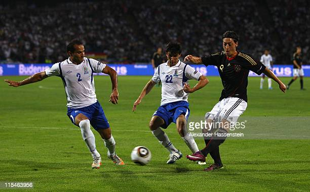 Mesut Oezil of Germany scores his first team goal during the UEFA EURO 2012 qualifying match between Azerbaijan against Germany at...