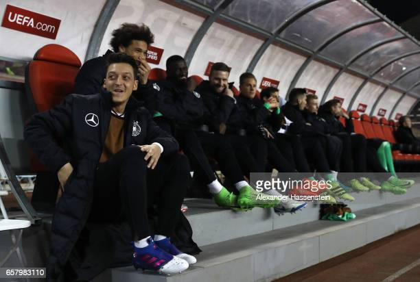 Mesut Oezil of Germany sits on the reserve bank during the FIFA 2018 World Cup Qualifing Group C between Azerbaijan and Germany at Tofiq Bahramov...