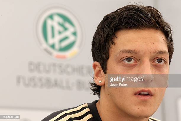 Mesut Oezil of Germany speaks to the media during a press conference at Sportzone Rungg on May 25 2010 in Appiano sulla Strada del Vino Italy