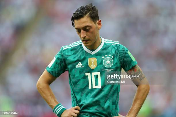 Mesut Oezil of Germany stands dejected following the 2018 FIFA World Cup Russia group F match between Korea Republic and Germany at Kazan Arena on...