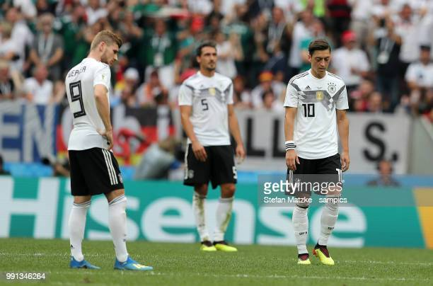 Mesut Oezil of Germany Timo Werner of Germany during the 2018 FIFA World Cup Russia group F match between Germany and Mexico at Luzhniki Stadium on...
