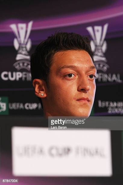 Mesut Oezil of Werder Bremen listens to questions from the media during the Werder Bremen press conference at the Sukru Saracoglu Stadium on May 19...