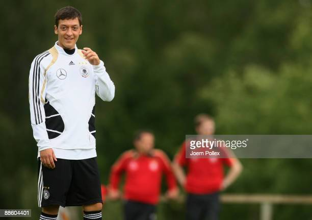 Mesut Oezil smiles during the U21 German National Team training session on June 21 2009 in Lerum Sweden