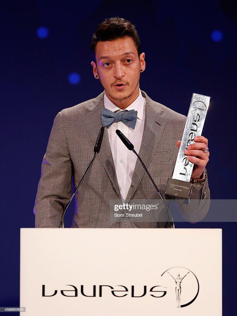 Mesut Oezil , winner of the Laureus award for the biggest social commitment attends the Laureus Media Award 2014 at Grand Hyatt Hotel on November 12, 2014 in Berlin, Germany.