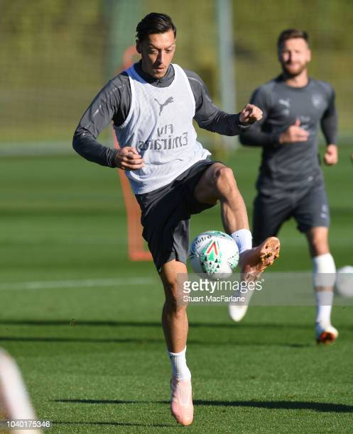 Mesut Ozi of Arsenal during a training session at London Colney on September 25 2018 in St Albans England