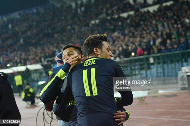 Mesut Ozil after scores a goal during the UEFA Champions League Group A football match between PFC Ludogorets 23 Arsenal at the Vasil Levski stadium...
