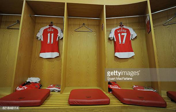 Mesut Ozil and Alexis Sanchez shirts in the home changing room before the Barclays Premier League match between Arsenal and Crystal Palace at...