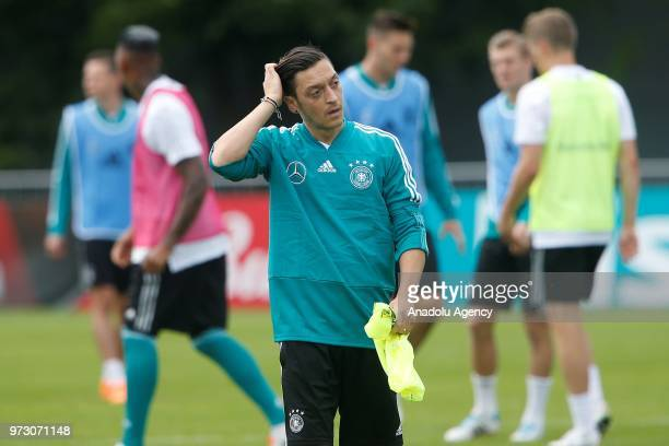 Mesut Ozil attends the Germany national football team training session at the CSKA sports base ahead of the 2018 FIFA World Cup in Moscow Russia on...