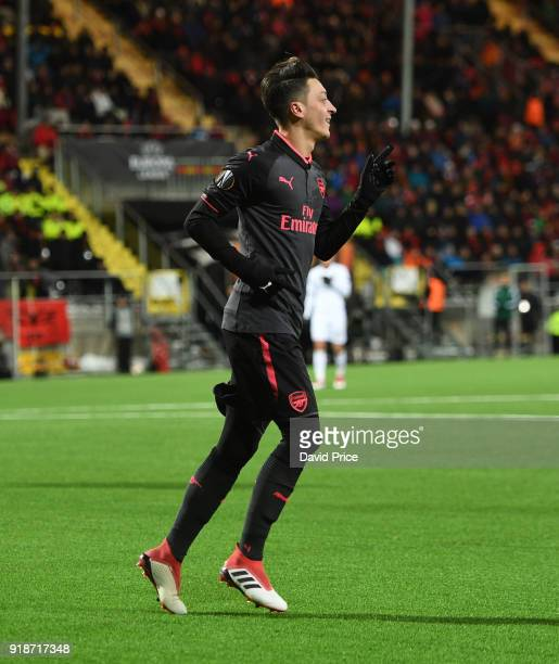 Mesut Ozil celebrates scoring Arsenal's 3rd goal during UEFA Europa League Round of 32 match between Ostersunds FK and Arsenal at the Jamtkraft Arena...