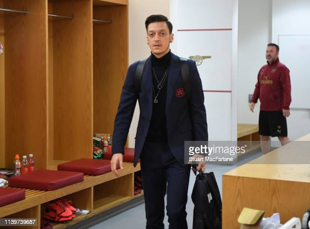Mesut Ozil in the Arsenal changing room before the Premier League match between Arsenal FC and Newcastle United at Emirates Stadium on April 01 2019...