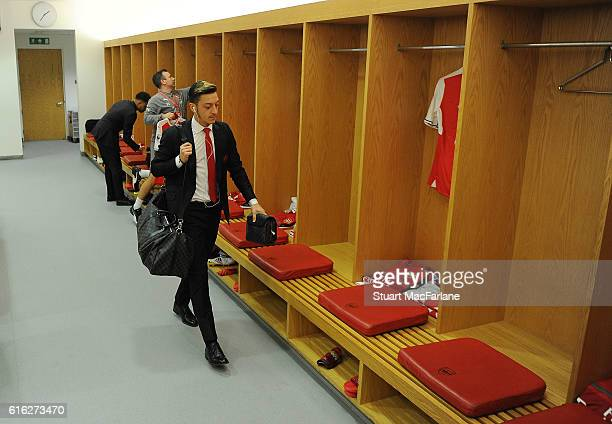Mesut Ozil in the Arsenal changing room before the Premier League match between Arsenal and Middlesbrough at Emirates Stadium on October 22 2016 in...