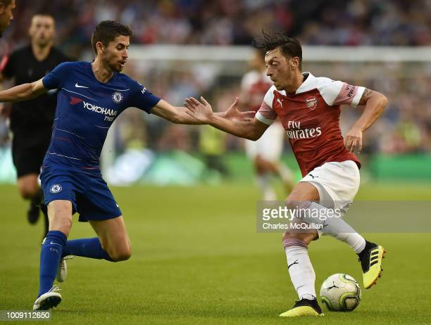 Mesut Ozil of Arsenal and Jorginho of Chelsea during the Preseason friendly International Champions Cup game between Arsenal and Chelsea at Aviva...