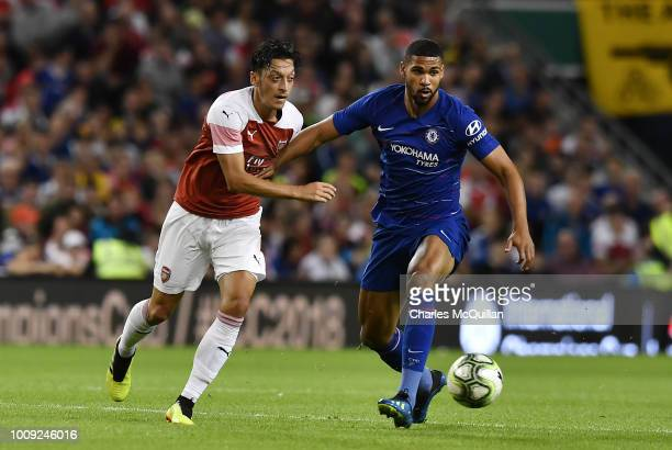 Mesut Ozil of Arsenal and Ruben Loftus Cheek of Chelsea during the Preseason friendly International Champions Cup game between Arsenal and Chelsea at...