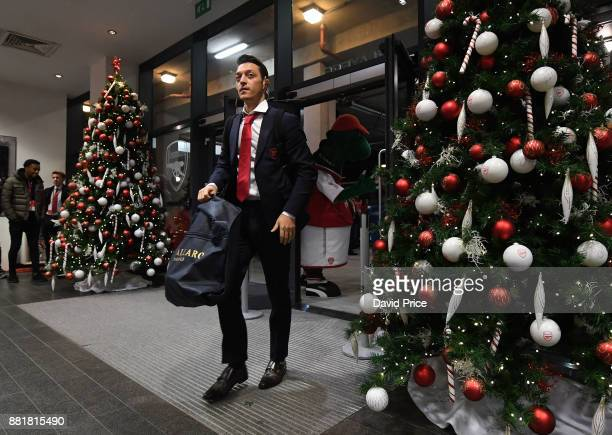 Mesut Ozil of Arsenal arrives at the stadium before the Premier League match between Arsenal and Huddersfield Town at Emirates Stadium on November 29...