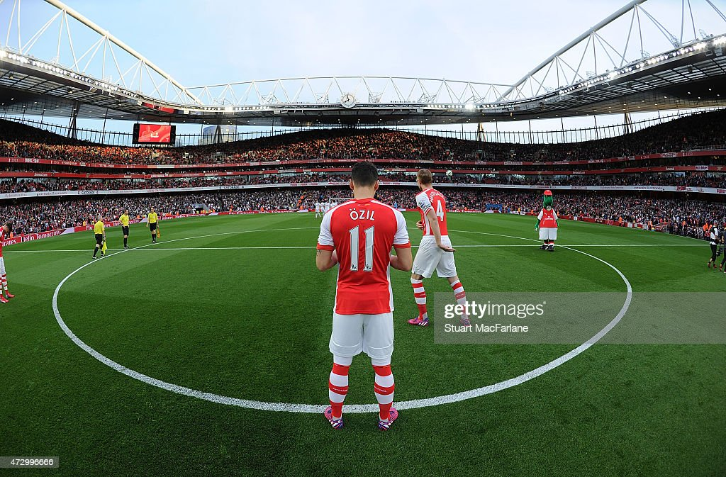 Mesut Ozil of Arsenal before the Barclays Premier League match between Arsenal and Swansea City at Emirates Stadium on May 11, 2015 in London, England.