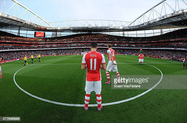 Mesut Ozil of Arsenal before the Barclays Premier League match between Arsenal and Swansea City at Emirates Stadium on May 11 2015 in London England