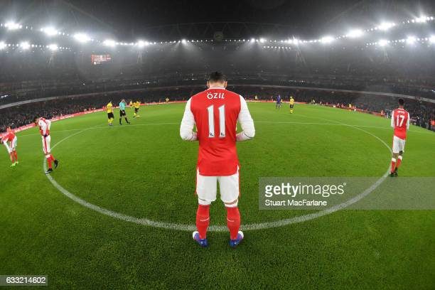 Mesut Ozil of Arsenal before the Premier League match between Arsenal and Watford at Emirates Stadium on January 31 2017 in London England