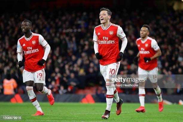 Mesut Ozil of Arsenal celebrates after scoring his sides third goal during the Premier League match between Arsenal FC and Newcastle United at...