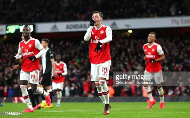 Mesut Ozil of Arsenal celebrates scoring his teams third goal during the Premier League match between Arsenal FC and Newcastle United at Emirates...