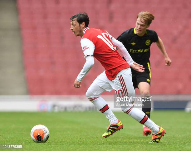 Mesut Ozil of Arsenal during a friendly match between Arsenal and Brentford at Emirates Stadium on June 10 2020 in London England