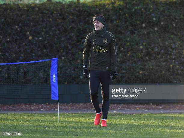 Mesut Ozil of Arsenal during a training session at London Colney on December 7 2018 in St Albans England