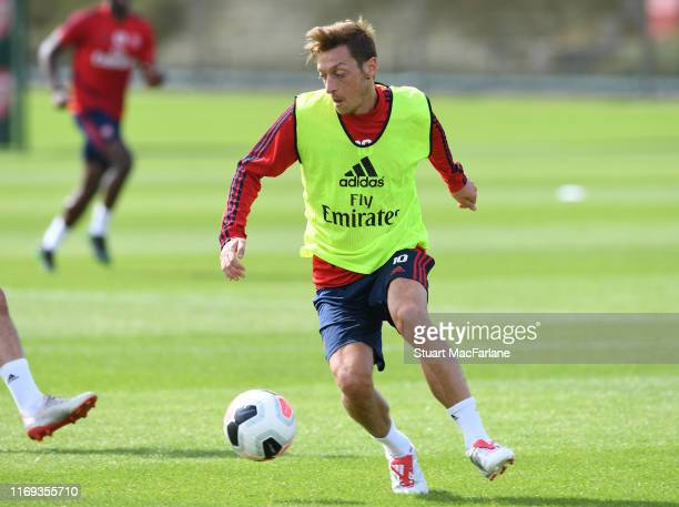 Mesut Ozil of Arsenal during a training session at London Colney on August 21 2019 in St Albans England