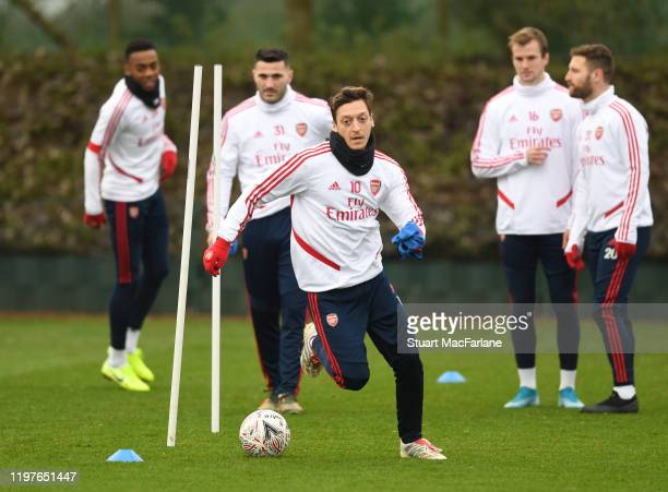 Mesut Ozil of Arsenal during a training session at London Colney on January 05 2020 in St Albans England