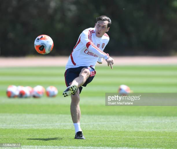 Mesut Ozil of Arsenal during a training session at London Colney on May 22, 2020 in St Albans, England.