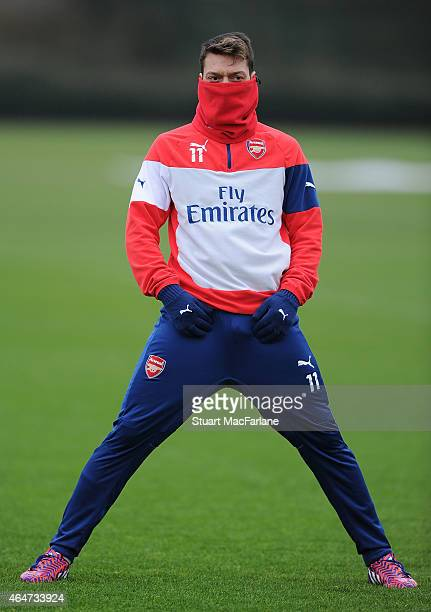 Mesut Ozil of Arsenal during a training session at London Colney on February 28, 2015 in St Albans, England.