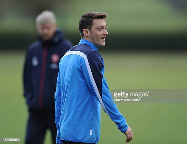 Mesut Ozil of Arsenal during a training session at London Colney on April 19, 2014 in St Albans, England.