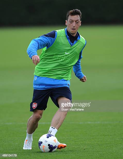 Mesut Ozil of Arsenal during a training session at London Colney on May 10 2014 in St Albans England