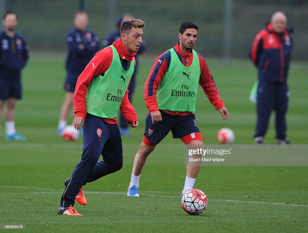 Mesut Ozil of Arsenal during a training session at London Colney on October 16, 2015 in St Albans, England.