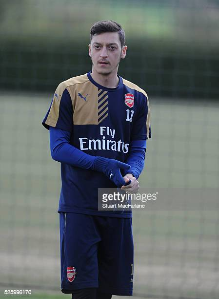 Mesut Ozil of Arsenal during a training session at London Colney on April 29 2016 in St Albans England