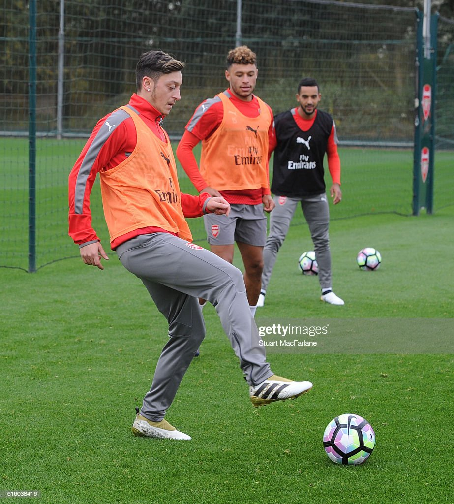 Mesut Ozil of Arsenal during a training session at London Colney on October 21, 2016 in St Albans, England.