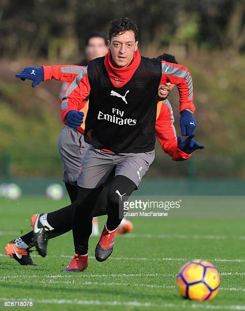 Mesut Ozil of Arsenal during a training session at London Colney on December 9, 2016 in St Albans, England.