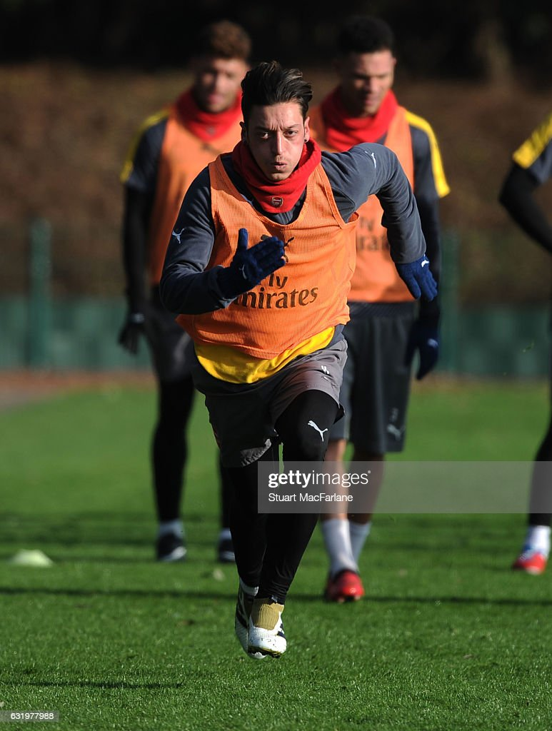 Mesut Ozil of Arsenal during a training session at London Colney on January 18, 2017 in St Albans, England.
