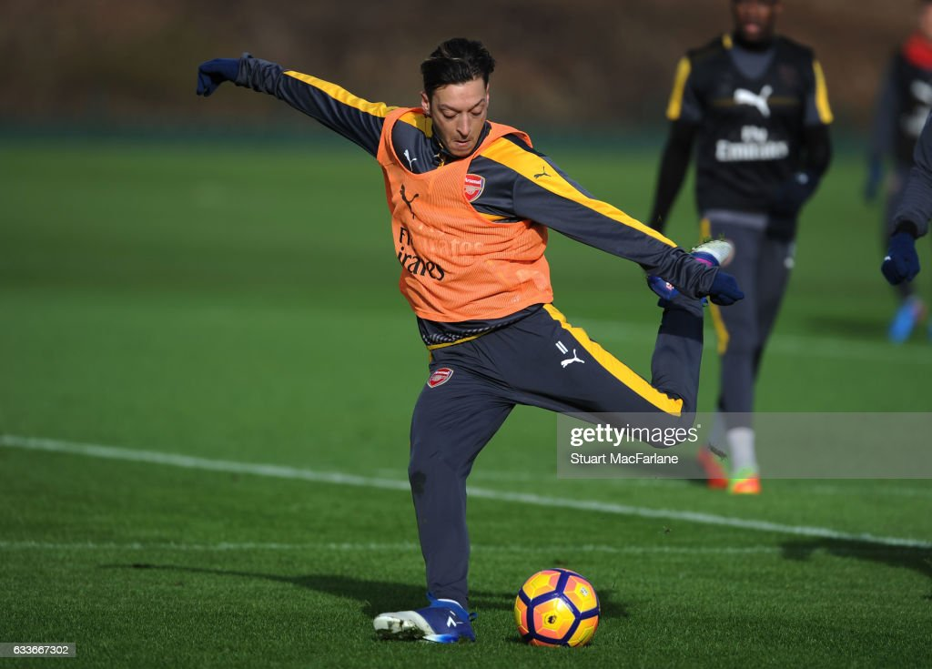Mesut Ozil of Arsenal during a training session at London Colney on February 3, 2017 in St Albans, England.
