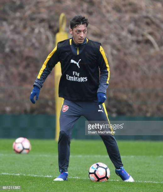 Mesut Ozil of Arsenal during a training session at London Colney on March 10 2017 in St Albans England