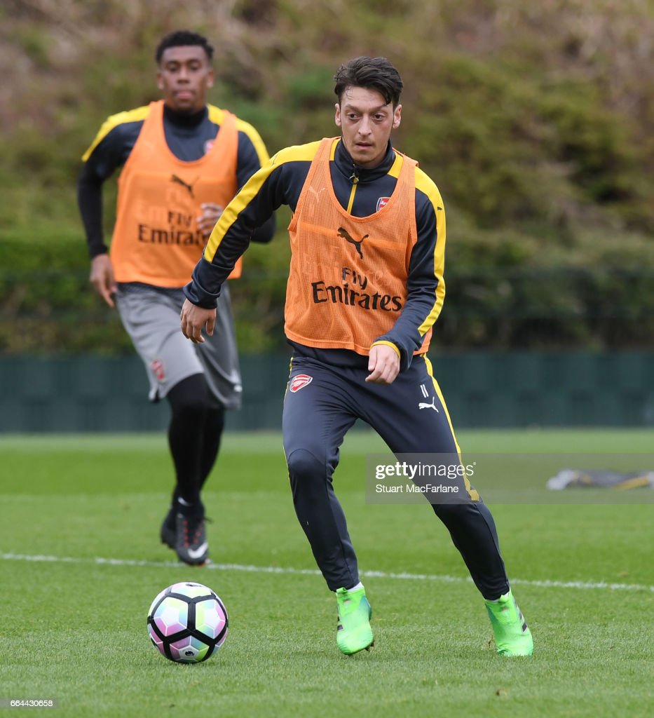 Mesut Ozil of Arsenal during a training session at London Colney on April 4, 2017 in St Albans, England.