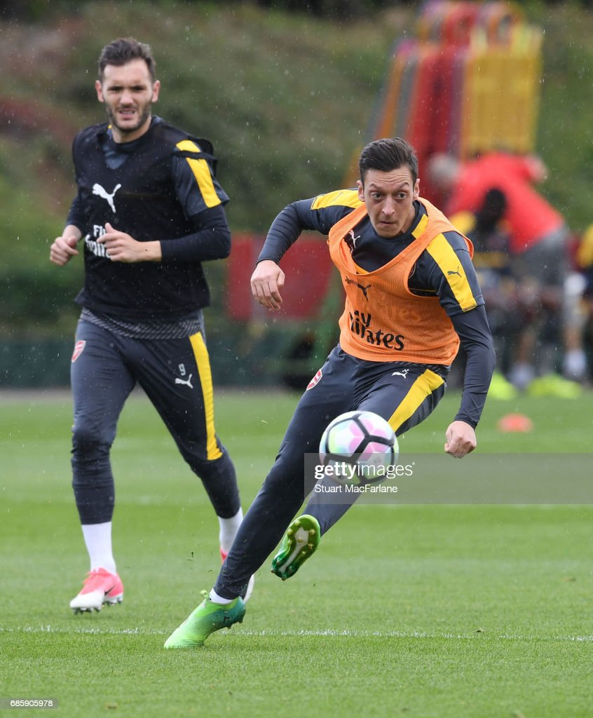 Mesut Ozil of Arsenal during a training session at London Colney on May 20, 2017 in St Albans, England.