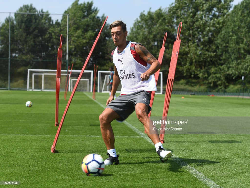 Mesut Ozil of Arsenal during a training session at London Colney on July 6, 2017 in St Albans, England.