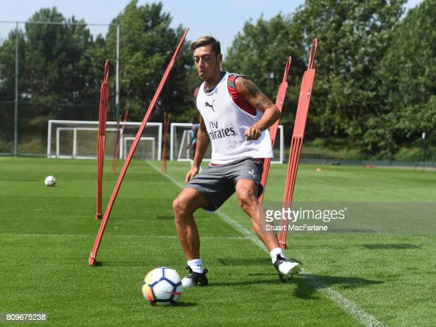 Mesut Ozil of Arsenal during a training session at London Colney on July 6 2017 in St Albans England