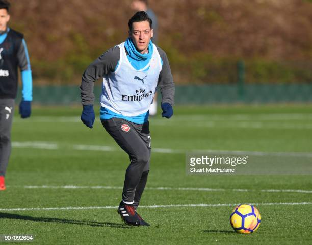 Mesut Ozil of Arsenal during a training session at London Colney on January 19 2018 in St Albans England