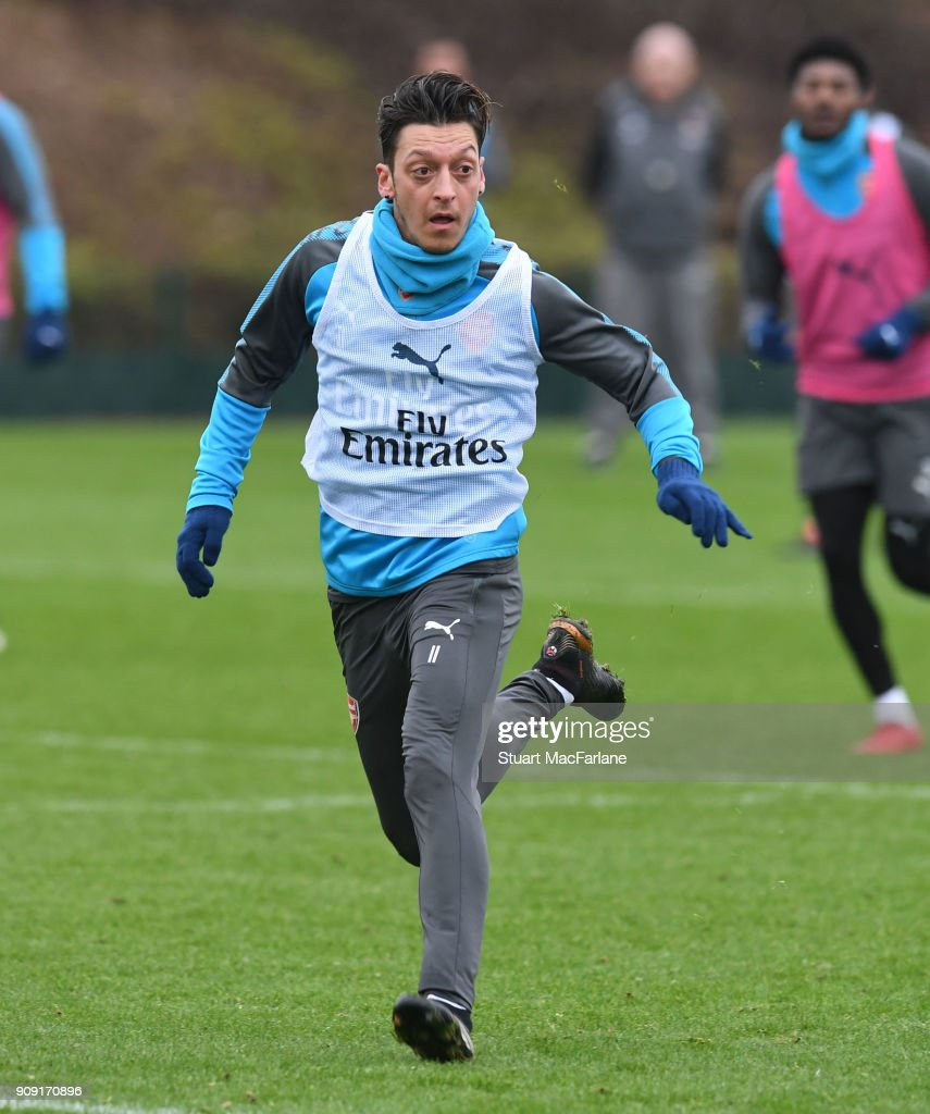 Mesut Ozil of Arsenal during a training session at London Colney on January 23, 2018 in St Albans, England.