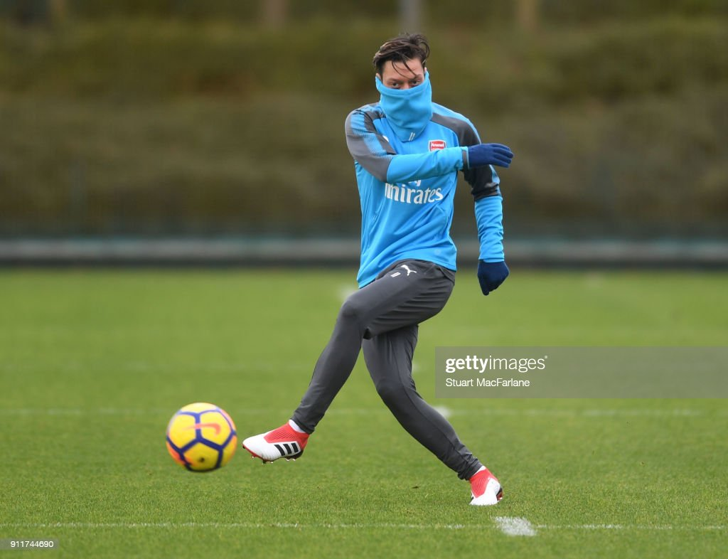 Mesut Ozil of Arsenal during a training session at London Colney on January 29, 2018 in St Albans, England.