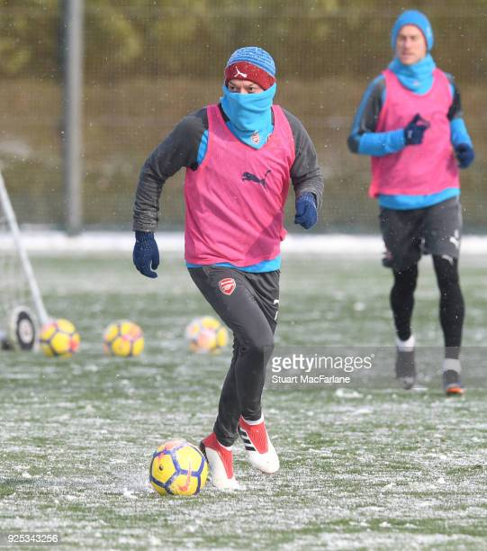 Mesut Ozil of Arsenal during a training session at London Colney on February 28, 2018 in St Albans, England.